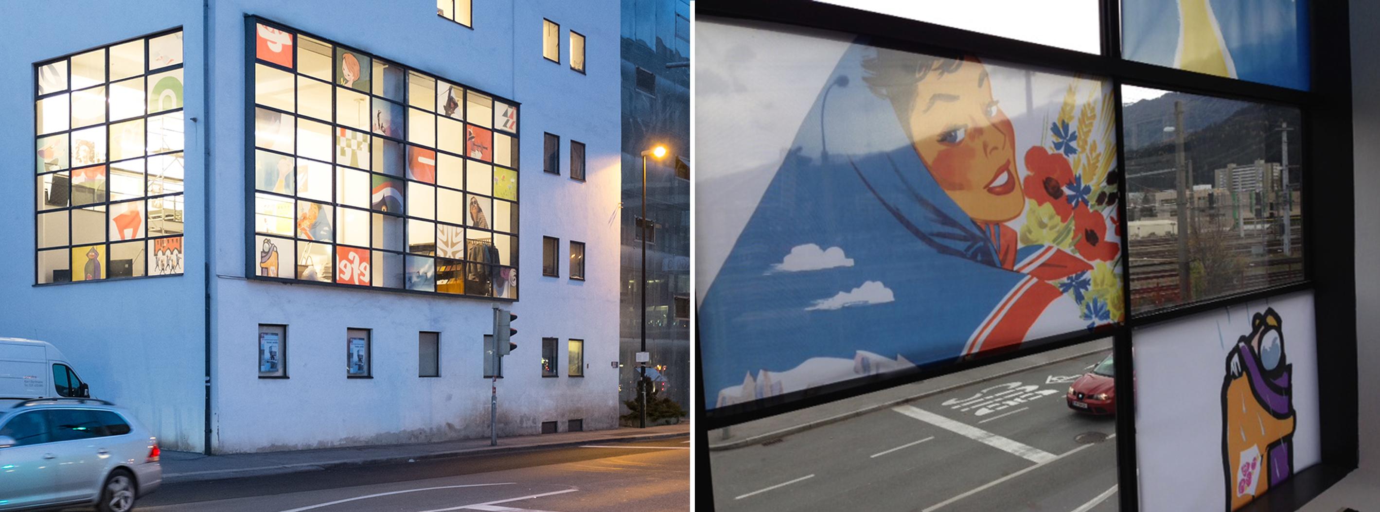 Textile Netzdrucke aus Fensterdekoration/Ausstellung in den Maßen ca 120x85 cm, unterschiedliche Bildausschnitte