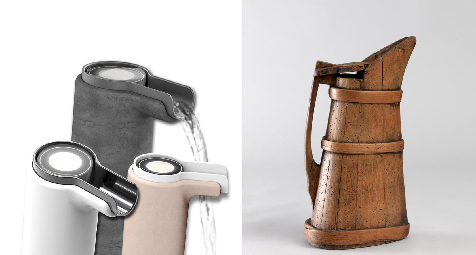 Armatur mit Wasserverbrauchsanzeigen und bäuerlicher Wasserkrug aus dem Tiroler Volkskunstmuseum