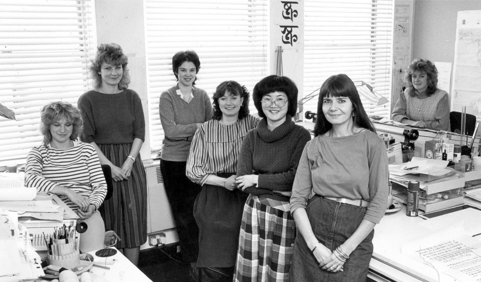 Fiona Ross und ihr Team 1983 bei Linotype